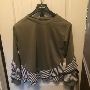 Tops - Contrast striped frill blouse